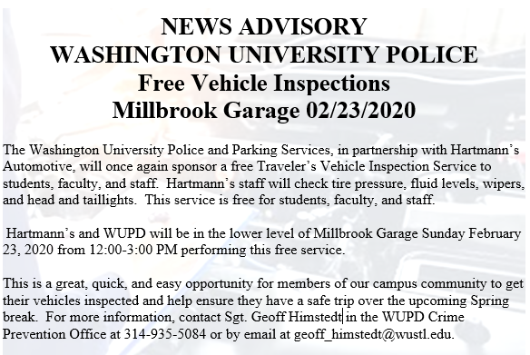 Free Vehicle Inspections on 2/23